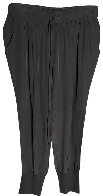 Item - Black Silk Drawstring Waist Joggers Pants Size 12 (L, 32, 33)