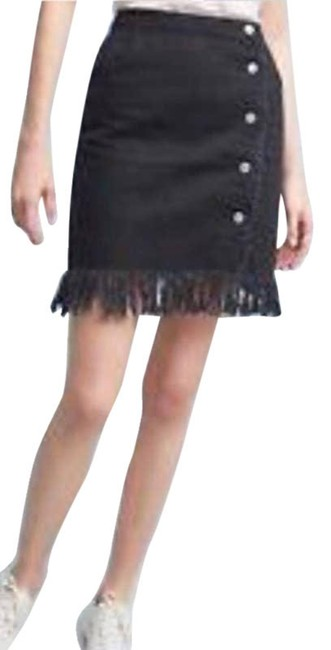 Item - Black Denim Fringe Button Wrap Skirt Size 10 (M, 31)