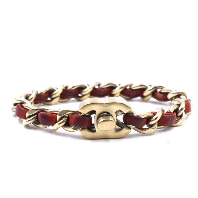 Item - #41357 Red Orange Ultra Rare Cc Turnlock Leather Gold Chain Cuff Bangle Bracelet