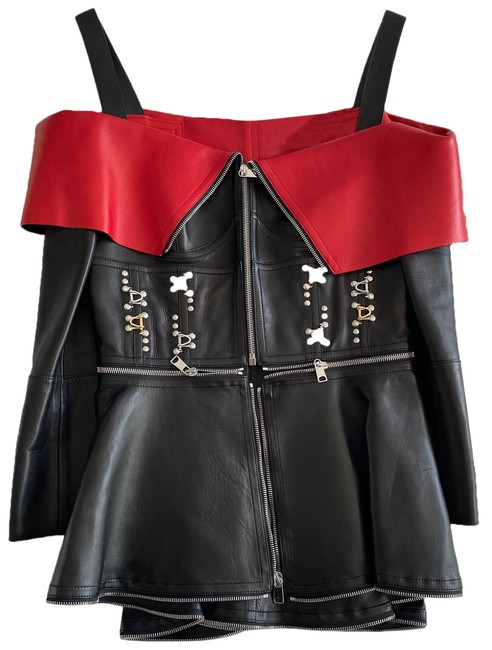 Item - Black and Red Embellished Lamb Jacket Size 6 (S)