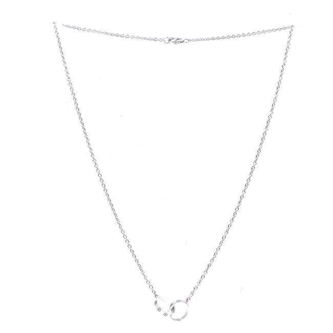 Item - #41358 White Gold 18k 750 Double Mini Ring Charms Necklace