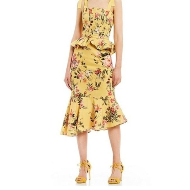 """Item - Yellow Pink """"Loraine"""" Mid-length Cocktail Dress Size 14 (L)"""