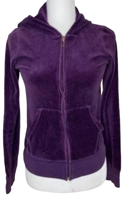 Item - Purple Velour Ziip Sweatshirt/Hoodie Size 8 (M)