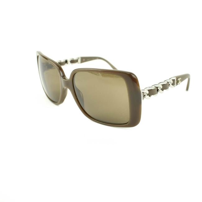 """Item - """"Chain"""" Taupe Brown Leather & """"Cc"""" Logo (Kt) Sunglasses"""