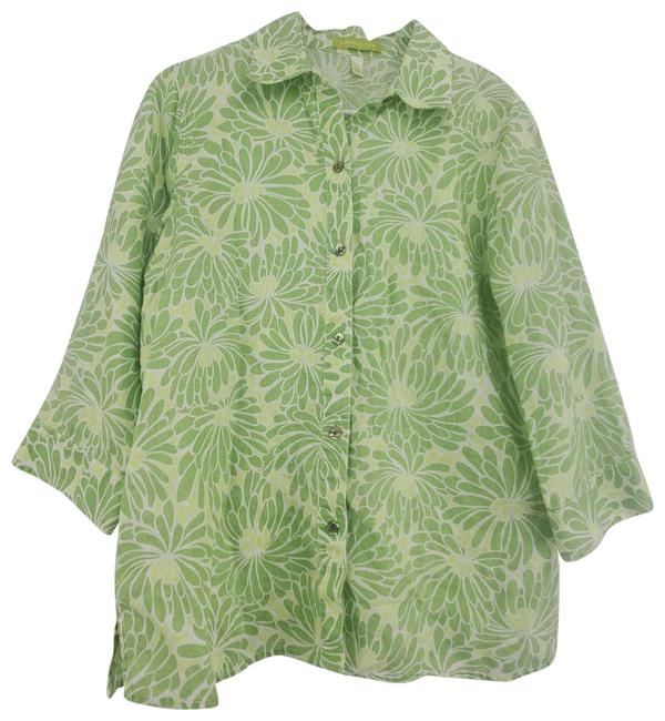 Item - Green Linen Button Up Shirt Button-down Top Size 8 (M)