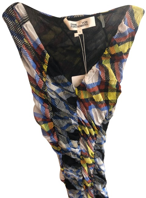 Item - Black Blue Yellow White and Red Check 11910dvf Mid-length Work/Office Dress Size 4 (S)