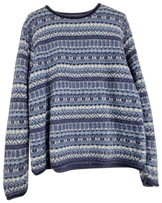 Item - Nordic Cotton Blend Crew Neck Long Sleeve Blue Sweater