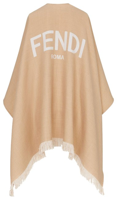 Item - Beige White - Wool Poncho/Cape Size OS (one size)