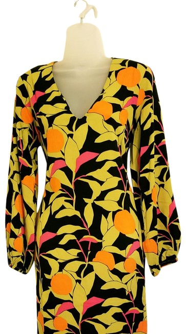 Item - Black Orange Fuschia Tropical Long Casual Maxi Dress Size 4 (S)