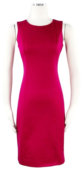 Item - Pink Ponte Wool Sheath Hot Color Block Crew Neck Short Casual Dress Size Petite 2 (XS)