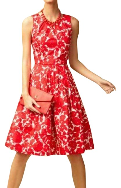 Item - Red Floral Fit Flare Pleated Sleeveless Crew Neck Lined Short Night Out Dress Size 12 (L)