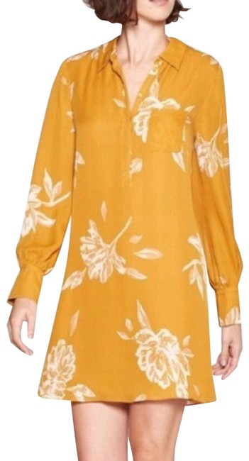 Item - Yellow Mustard White Floral Print Shirt Cocktail Dress Size 4 (S)