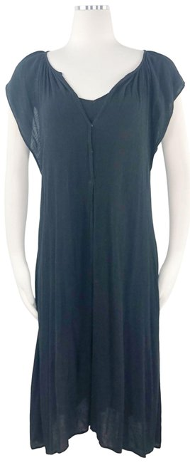 Item - Black Lined Sheer Ruched Flutter Sleeve Ruffle V-neck Pullover Swing F Short Casual Dress Size 0 (XS)