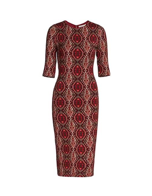 Item - Bordeaux Delora Fitted Crewneck Bodycon Mid-length Night Out Dress Size 8 (M)