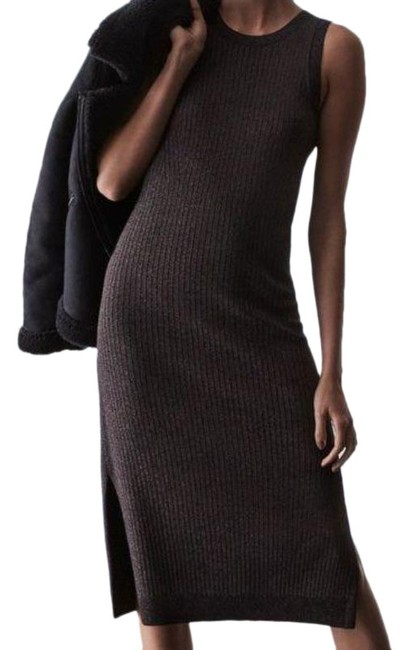 Item - Black Sweater Metallic Sleeveless Split Ribbed Stretch Mid-length Cocktail Dress Size 4 (S)