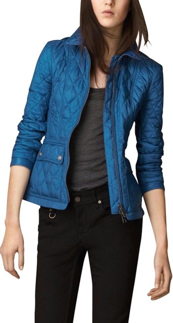 Item - Blue Womens Quilted Check Coat Medium Jacket Size 6 (S)