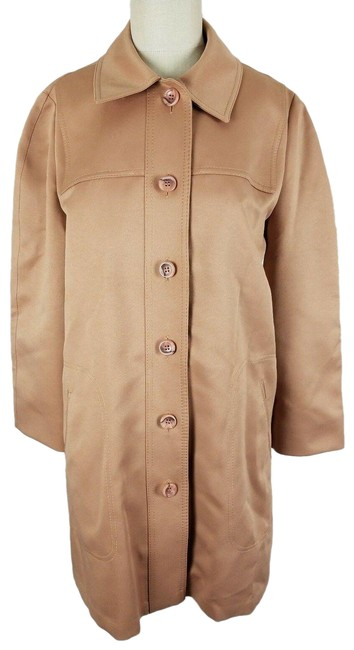 Item - Tan Maincoats Textured Polyester Style Women's Coat Size 10 (M)
