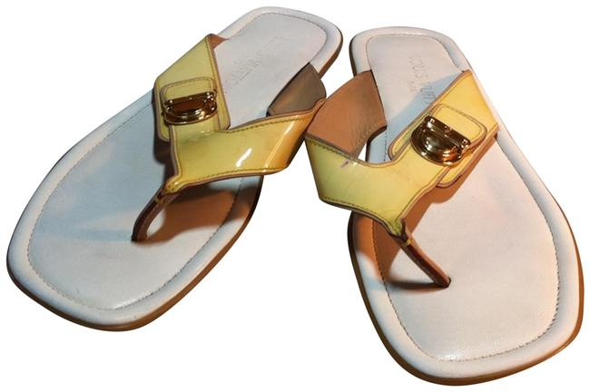 Item - Yellowish Off-white Gold Thong Patent Leather Italy Sandals Size EU 38.5 (Approx. US 8.5) Regular (M, B)