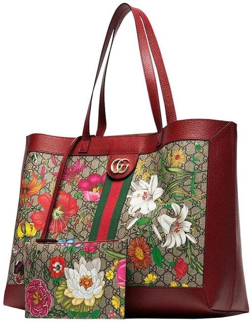 Item - Bag Web Ophidia 2 Pc Purse New Floral Multi Soft Red Beige Gg Supreme Canvas Tote