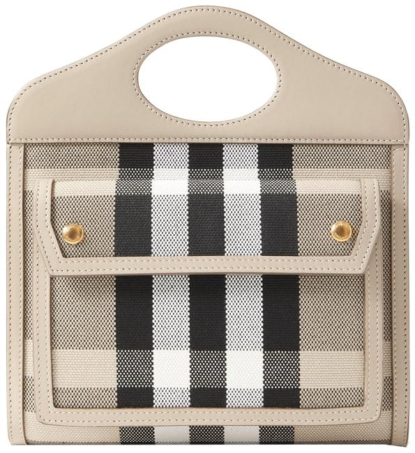 Item - Leather-trimmed Checked Beige Canvas Tote