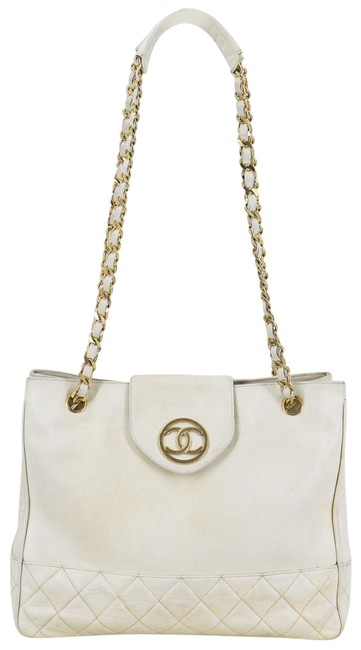 Item - Tote Calfskin Matelasse Chain Italy White Leather Shoulder Bag