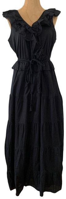 Item - Black Ruffle-front with Braided Belt Long Casual Maxi Dress Size 6 (S)