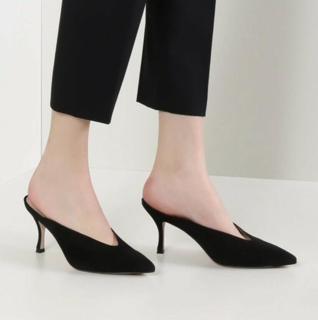 Item - Black Lulah Suede Kitten Heel Pumps Mules/Slides Size US 6 Regular (M, B)