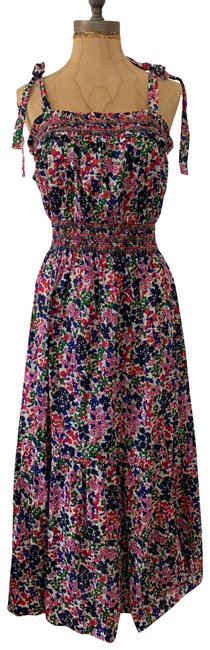 Item - Multi-color Smocked In Watermark Floral Print Long Casual Maxi Dress Size 8 (M)