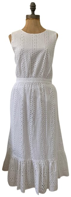 Item - White Eyelet-embroidered Tiered Midi Long Casual Maxi Dress Size 10 (M)
