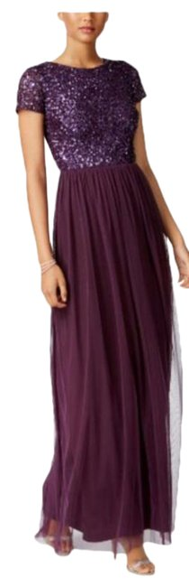 Item - Purple Chiffon Eggplant Currant Sequined Beaded Tulle A-line Bateau Neck Long Formal Dress Size 8 (M)