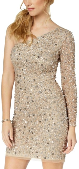Item - Nude Champagne One Shoulder Sequin Beaded Short Cocktail Dress Size 6 (S)