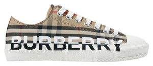 Burberry Leather Canvas High Top Sneakers Beige Athletic