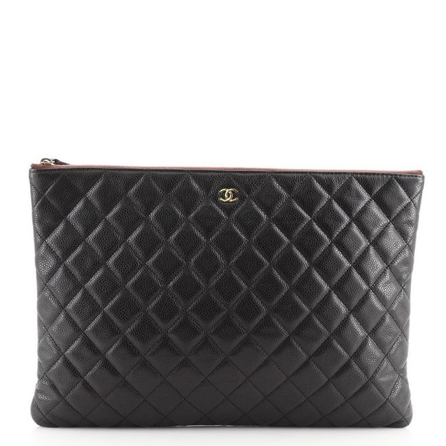 Item - Case Quilted Caviar Large Black Leather Clutch