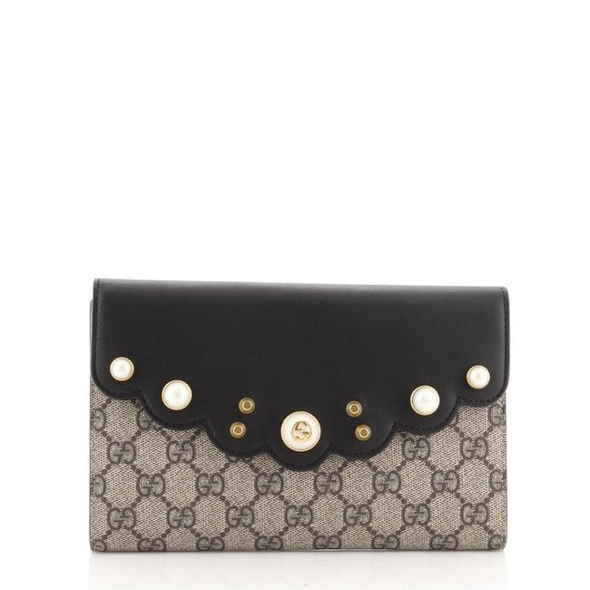 Item - Black Brown Pearly Peony Continental Gg Coated Canvas and Leather Long Wallet