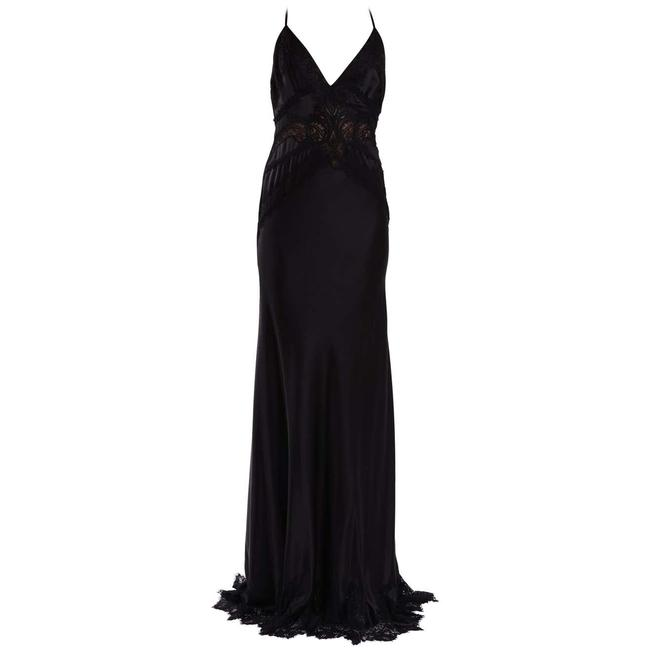 Item - Black Vintage Silk and Lace Gown Long Night Out Dress Size 6 (S)