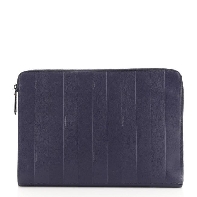 Item - Zip Around Pouch Pequin Coated Canvas Large Blue Leather Clutch