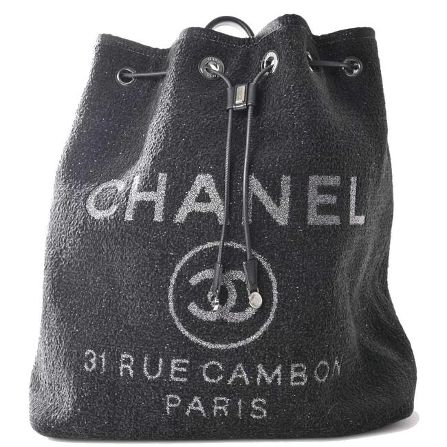 Item - Deauville Coco Mark Black Canvas Backpack