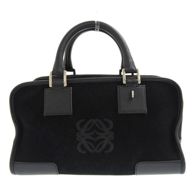 Item - Amazona Anagram Handbag Leather Black Suede Satchel