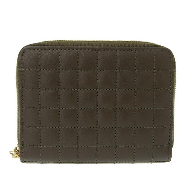 Item - Khaki Leather C Charm Compact Zip Coin Case 10b663bfl.15.kh Wallet
