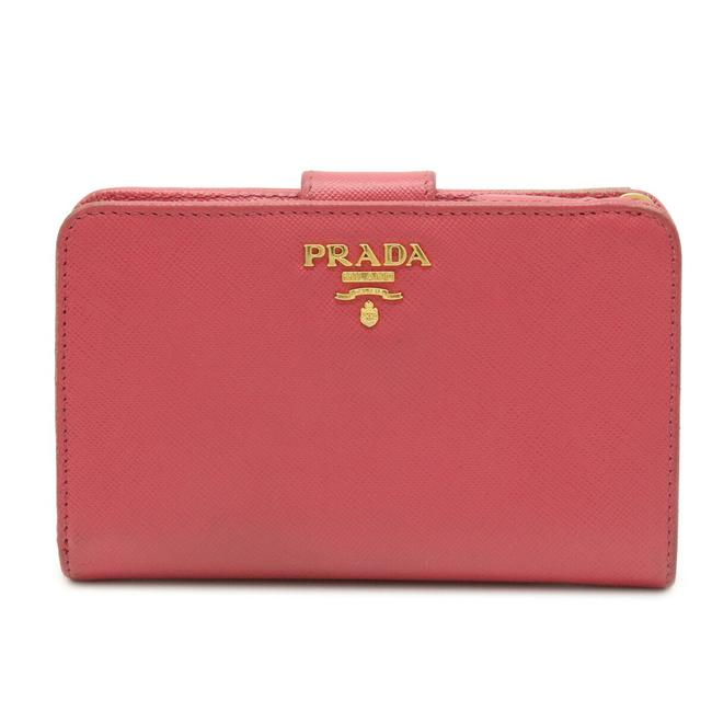 Item - Peonia / Pink Saffiano L-shaped Fastener Bi-fold Embossed Leather Gold Metal Fittings 1m1225 Wallet