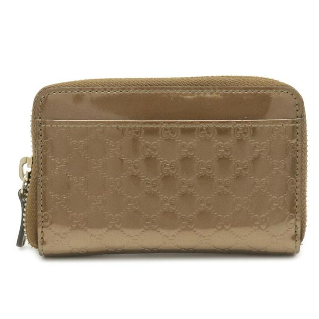 Item - Gold Brown Micro Shima Round Zipper Coin Case Patent Leather with Key Ring 256810 Wallet