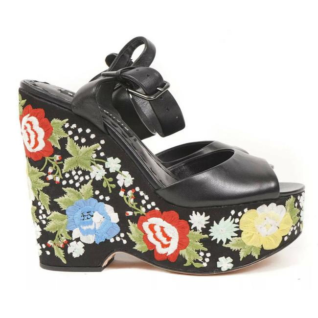 Item - Black And Floral Wedge Floral Embroidered Leather Sandals Size US 5 Regular (M, B)