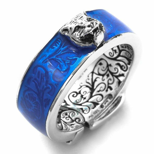 Item - Silver/Blue Tiger Head and Engraved Inside It 9 / Us 4.5 498500 8183 Ring