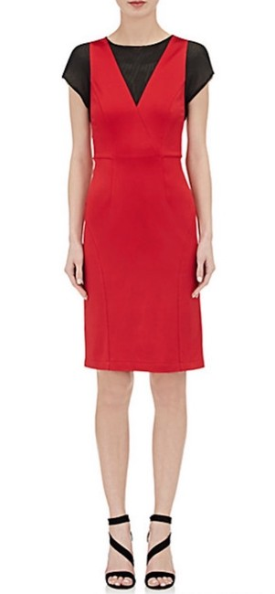 Item - Red Jersey Fluid Sheath Mid-length Night Out Dress Size 4 (S)