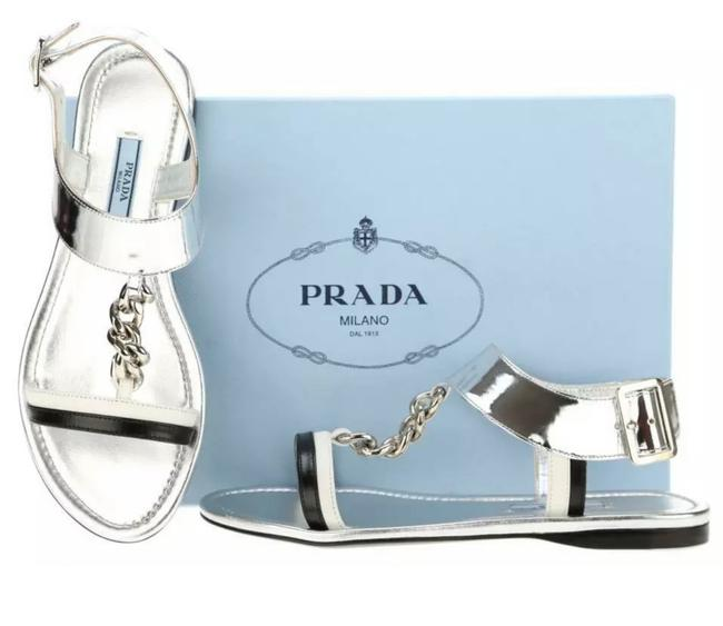 Item - Silver Black and White Straps New Metallic Leather Chain Detail Flat 37/Us Sandals Size US 7 Regular (M, B)