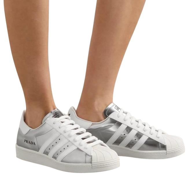 Item - Silver White X Adidas Superstar Metallic Leather Sneakers Size US 8 Regular (M, B)