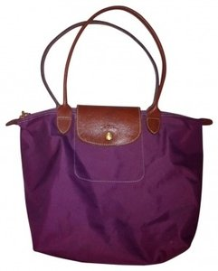 Longchamp Tote in Purple w/ Brown Leather Trim