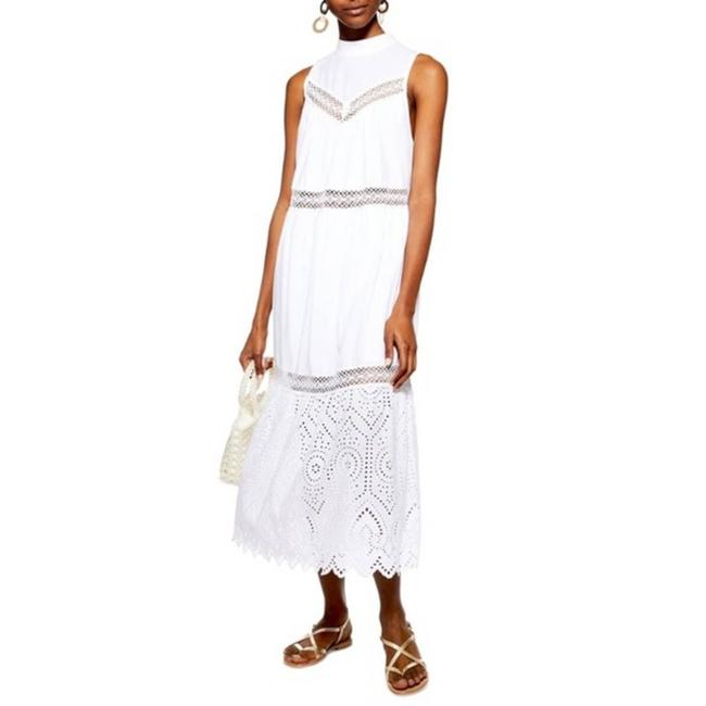 Item - White Broderie Casual Maxi Dress Size 10 (M)