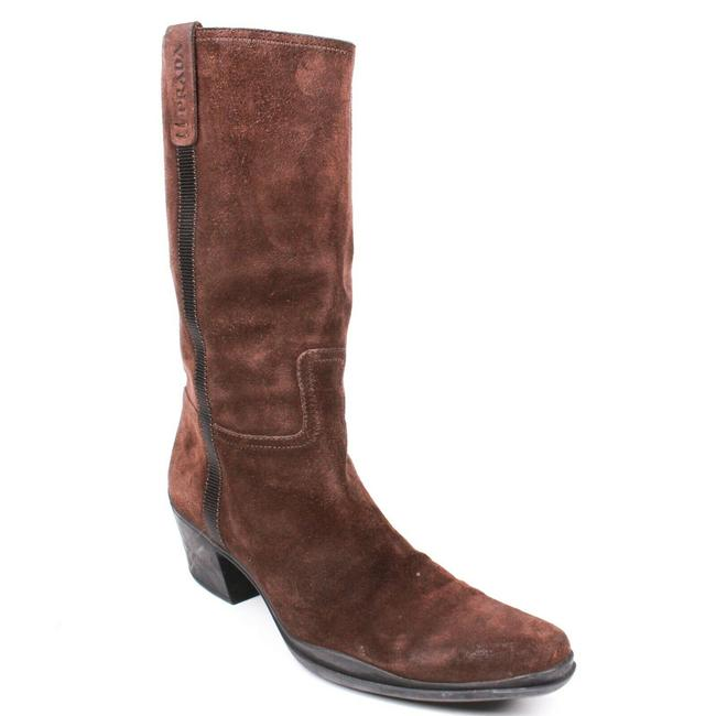 Item - Brown Mid Calf Point Suede Pull On Block Heel 7.5 - Boots/Booties Size EU 37 (Approx. US 7) Regular (M, B)