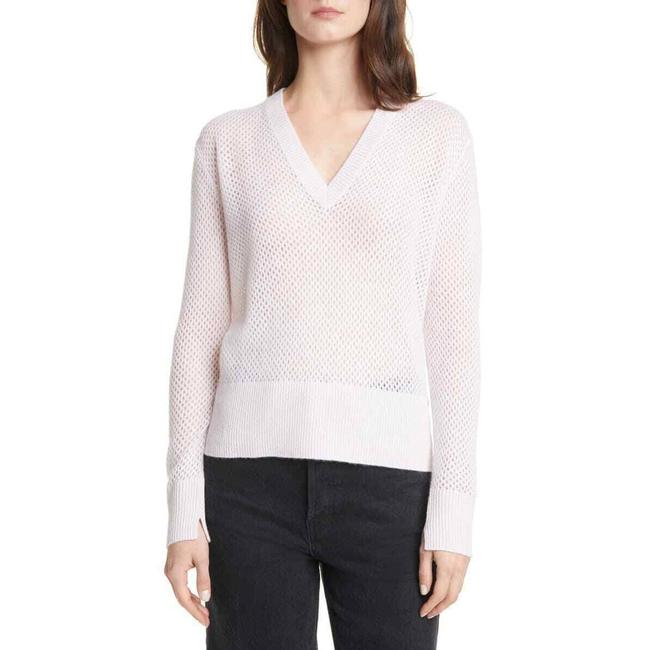 Item - New Small Pointelle V Neck Cashmere Pink Sweater